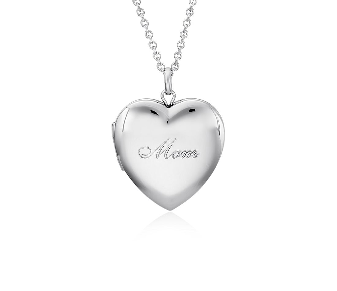 """Mom"" Heart Locket Pendant in Sterling Silver"