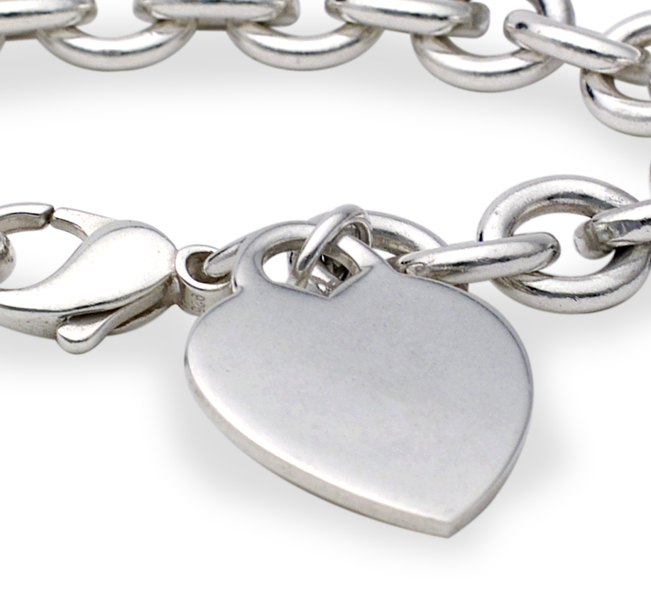 Heart-Tag Charm Bracelet in Sterling Silver
