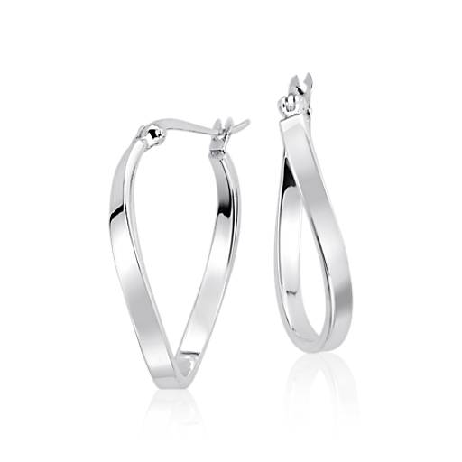 "Organic Hoop Earrings in Sterling Silver (3/4"")"