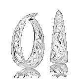 Oval Designed Hoop Earrings in Sterling Silver