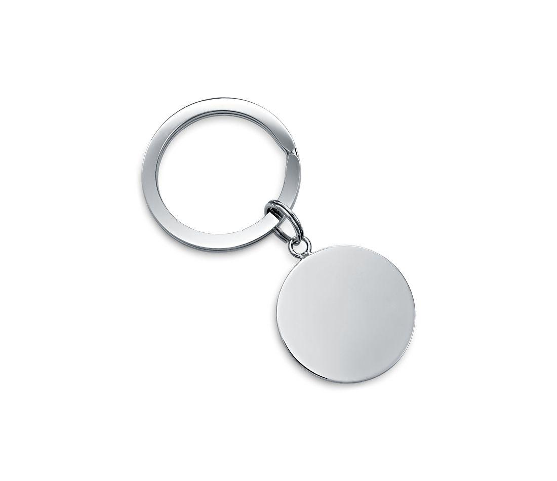 Porte-clés plaque ronde en argent sterling