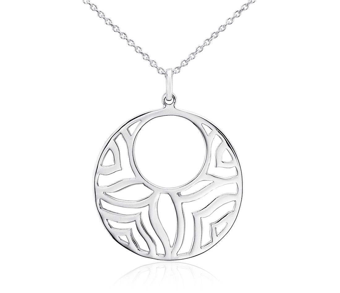 Medallion Open Disc Pendant in Sterling Silver
