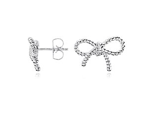 Mini Bow Earrings in Sterling Silver