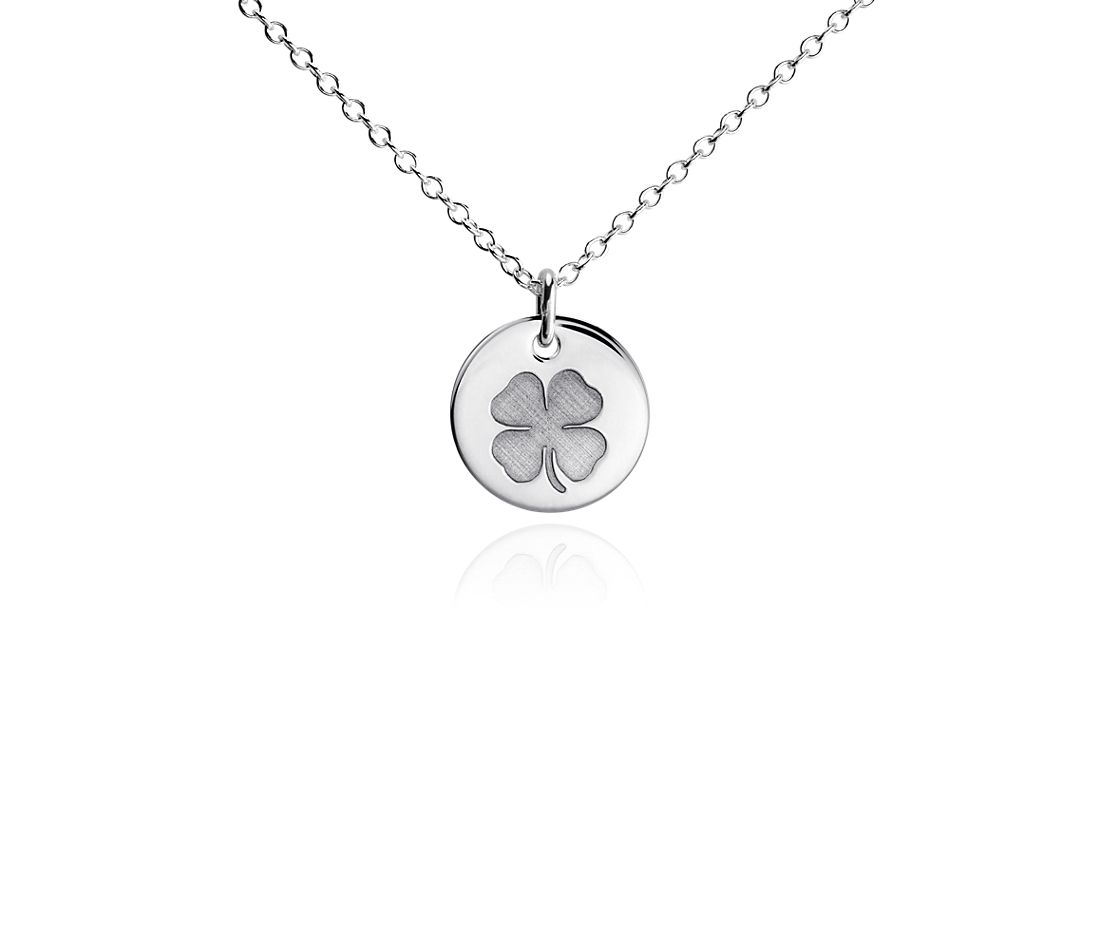 Mini Clover Symbol Pendant in Sterling Silver