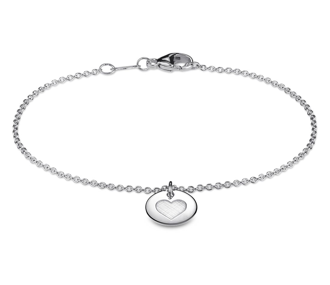 Mini Heart Symbol Bracelet in Sterling Silver