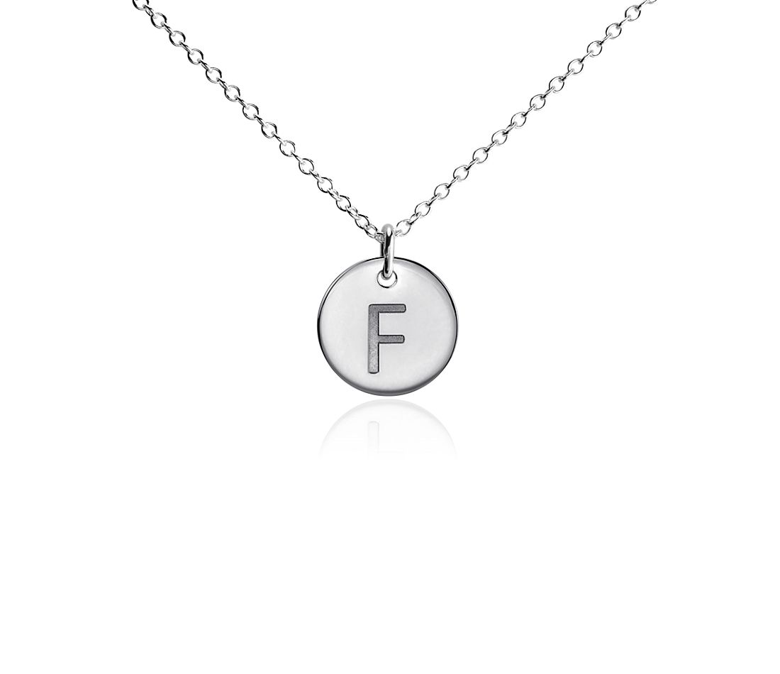 """F"" Mini Initial Pendant in Sterling Silver"