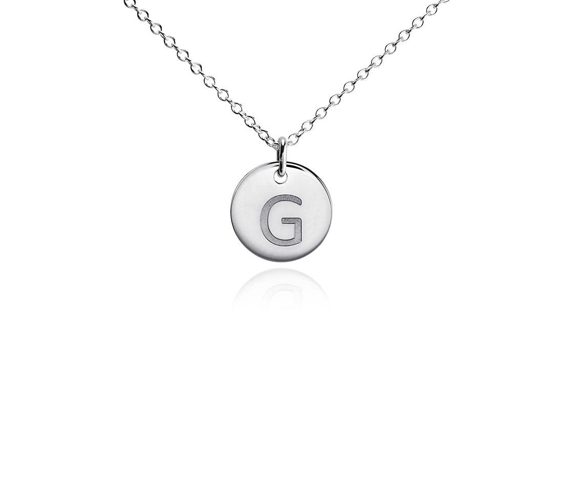 """G"" Mini Initial Pendant in Sterling Silver"