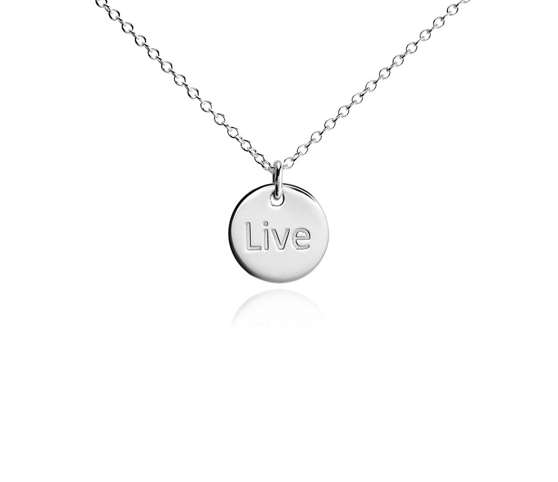"Mini ""Live"" Pendant in Sterling Silver"