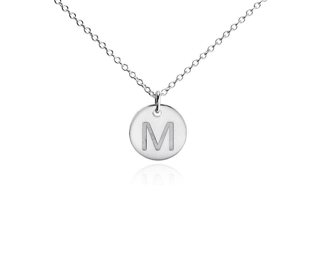 """M"" Mini Initial Pendant in Sterling Silver"