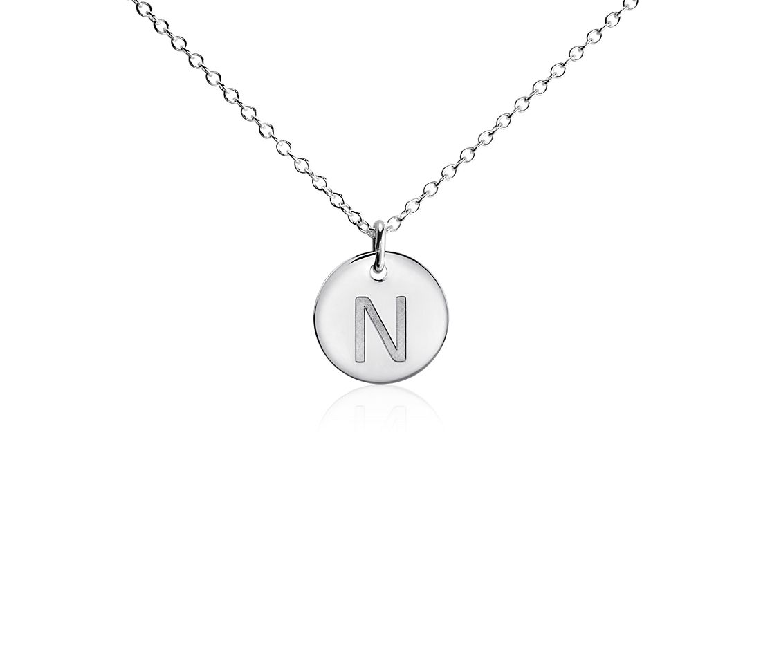 """N"" Mini Initial Pendant in Sterling Silver"