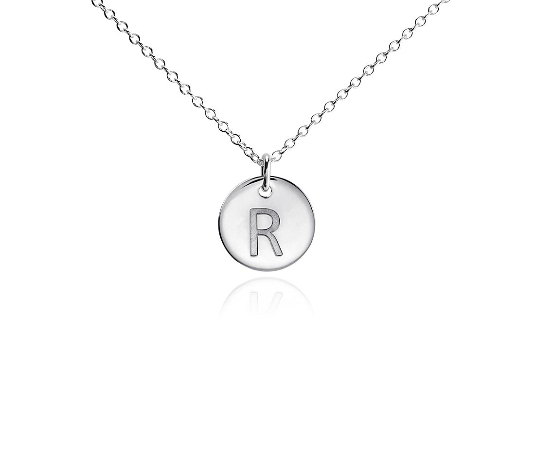 """R"" Mini Initial Pendant in Sterling Silver"