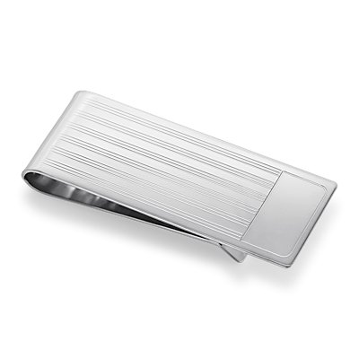 Pin-Striped Money Clip in Sterling Silver