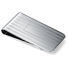 Wide Pin-Striped Money Clip in Sterling Silver
