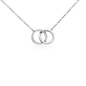 Double Rings Necklace in Sterling Silver