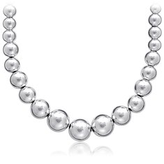 Graduated Bead Necklace in Sterling Silver (4-10mm)