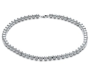Bead Necklace in Sterling Silver (8mm)