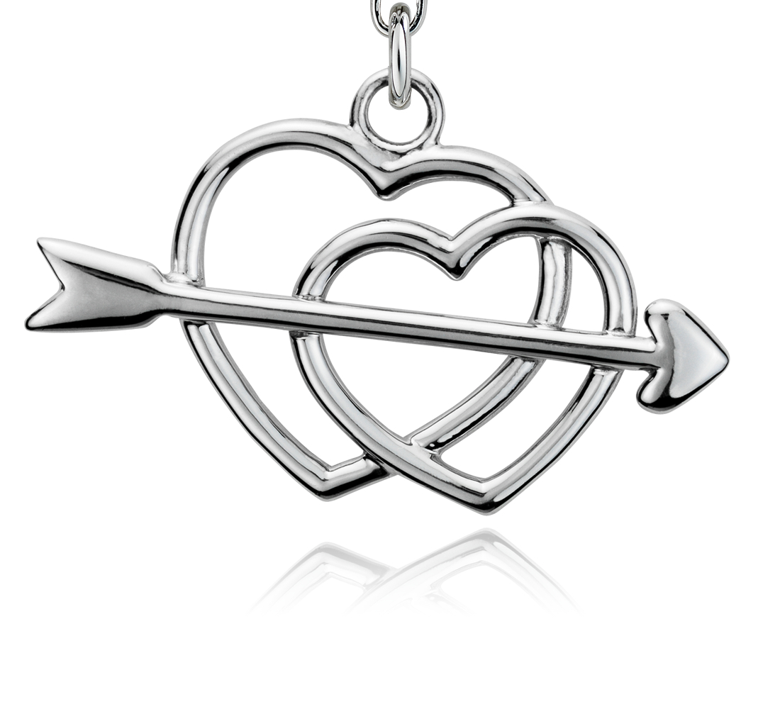 Hearts and Arrow Charm in Sterling Silver