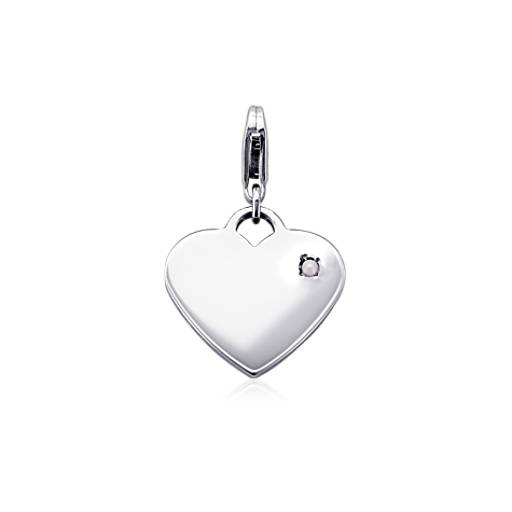 Freshwater Cultured Pearl Birthstone Heart Charm in Sterling Silver (June)
