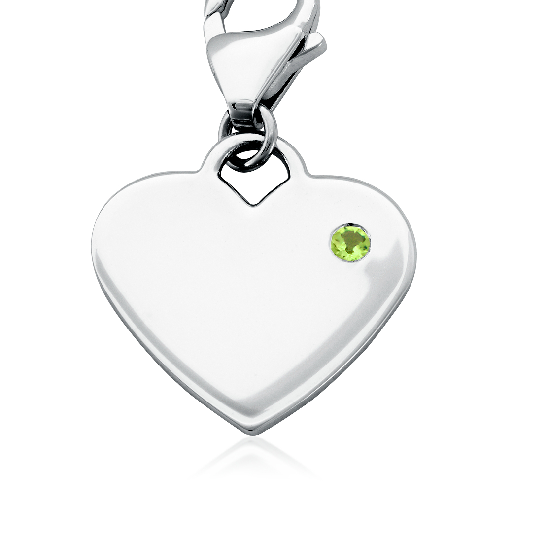 Peridot Birthstone Heart Charm in Sterling Silver (August)