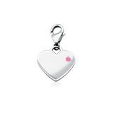 Pink Tourmaline Birthstone Heart Charm in Sterling Silver (October)