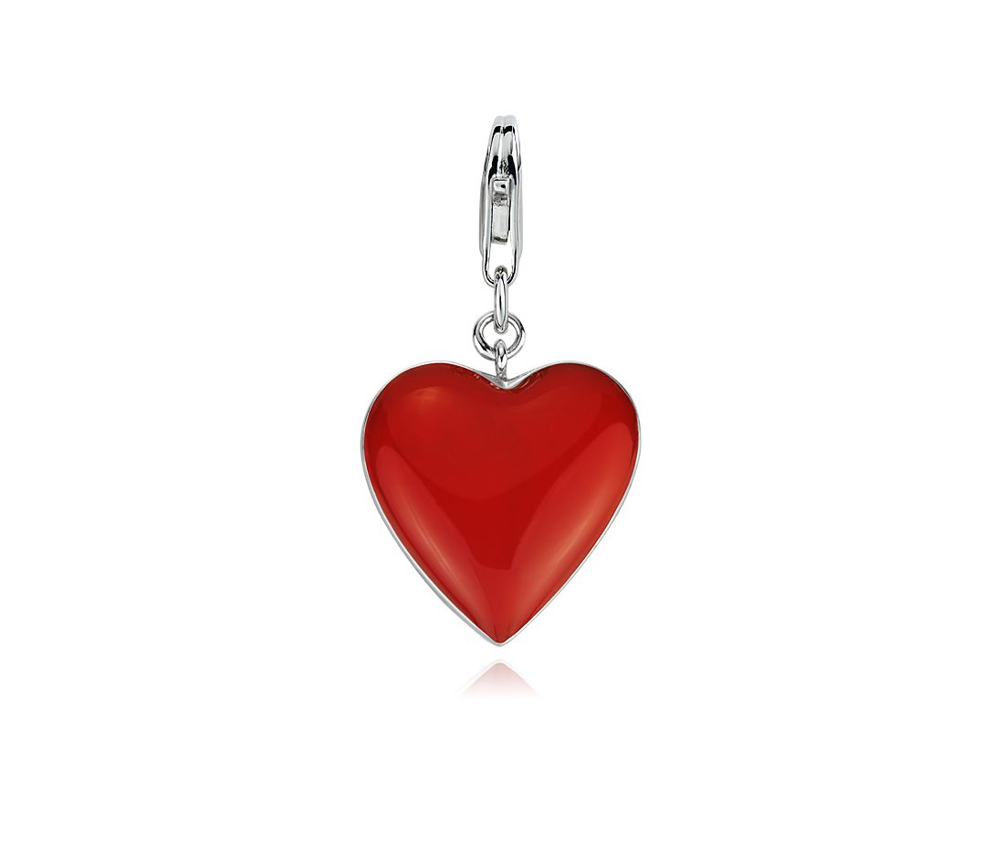 Red Heart Charm in Sterling Silver