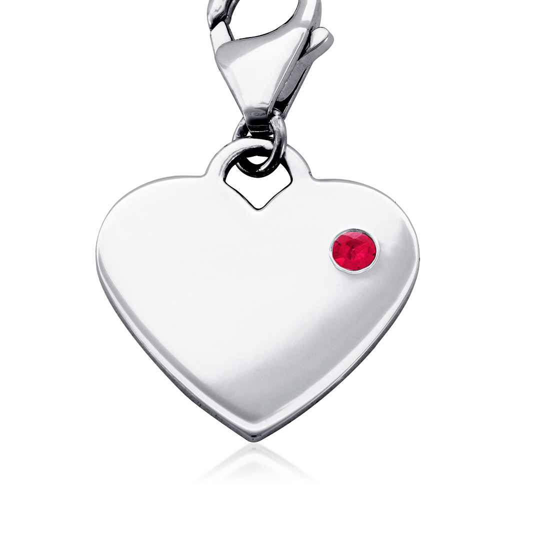 Ruby Birthstone Heart Charm in Sterling Silver (July)