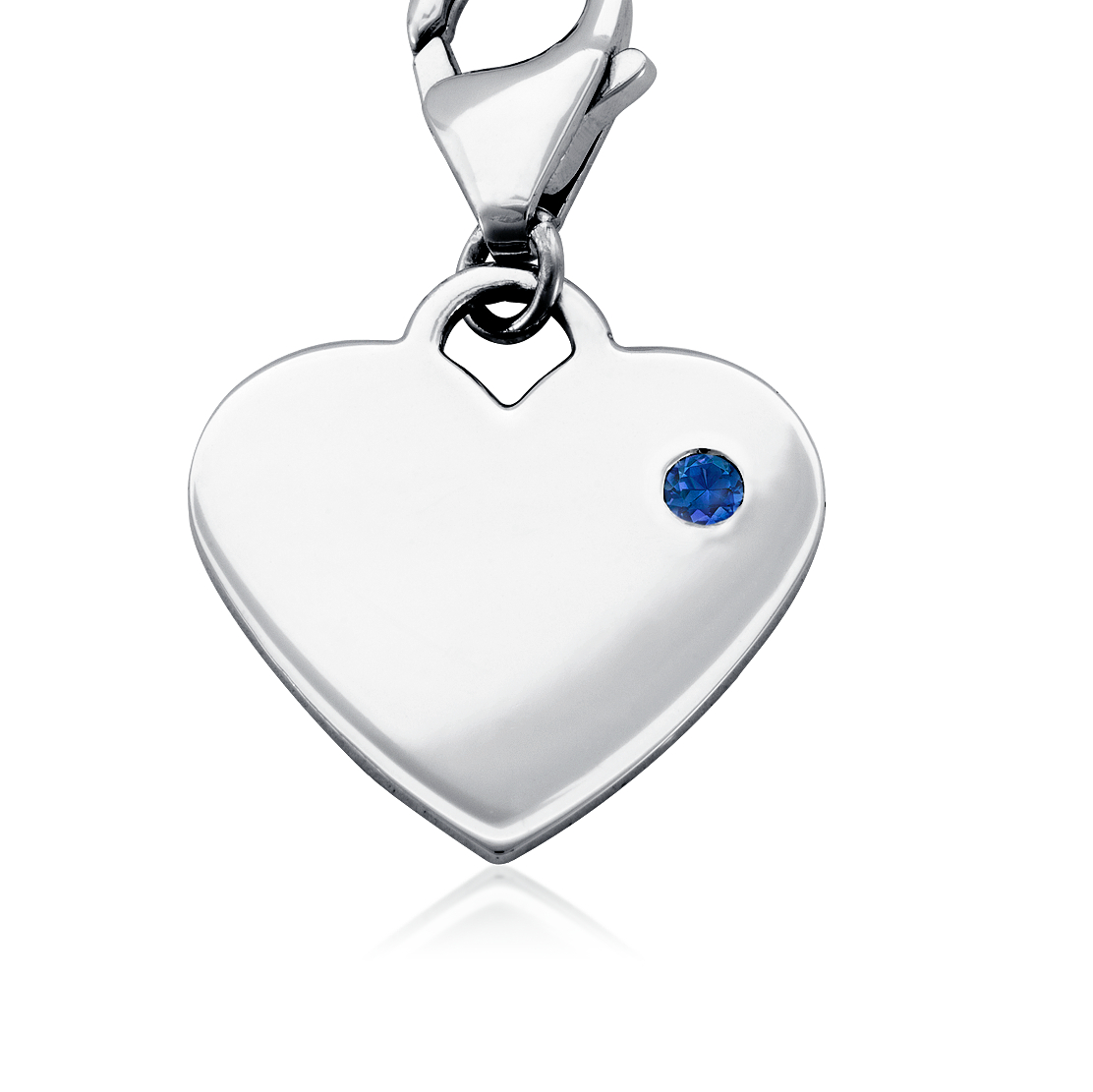 Sapphire Birthstone Heart Charm in Sterling Silver (September)