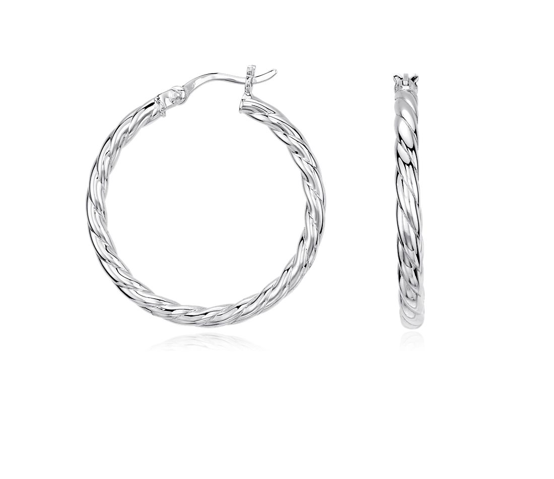 Twisted Hoop Earrings in Sterling Silver (1'')