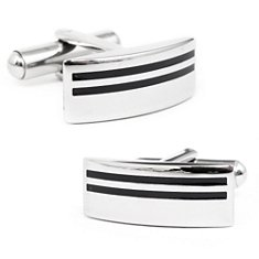 Stripe Cuff Links in Stainless Steel