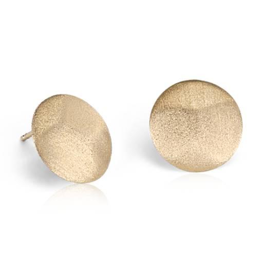 Aretes tipo botón en oro amarillo satinado de 14k