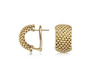 Mesh Hoop Earrings in 14k Yellow Gold