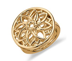 Sunburst Medallion Ring in 14K Yellow Gold