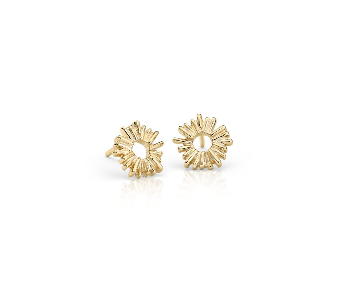 Sunburst Stud Earrings in Gold Vermeil