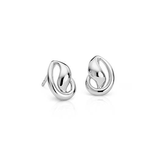 Puces d'oreilles en forme de vague en argent sterling