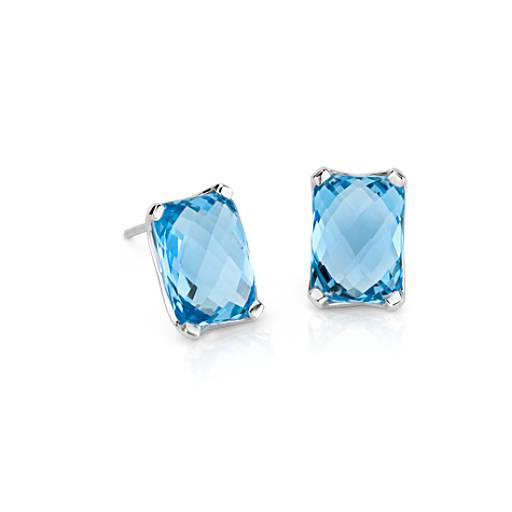 Swiss Blue Topaz Cushion Stud Earrings in 14K White Gold