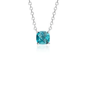 Swiss Blue Topaz Cushion Pendant in Sterling Silver (8mm)