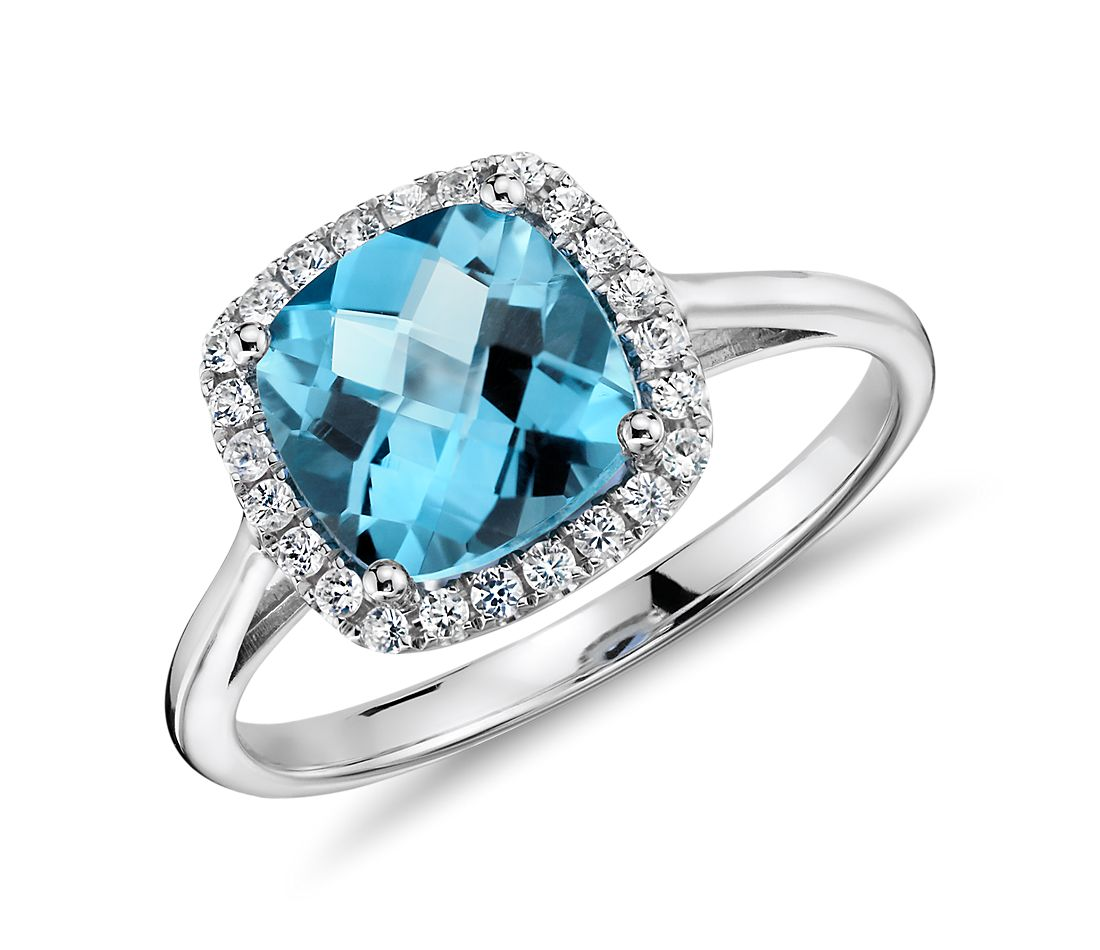 Swiss Blue Topaz and Diamond Cushion Ring in 14k White Gold (0.17 ct. tw.)