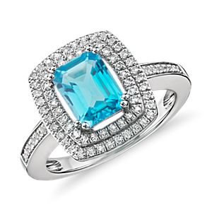 NEW Swiss Blue Topaz and White Topaz Double Halo Cocktail Ring in Sterling Silver (8x6mm)