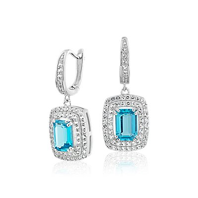 NOUVEAU Swiss Blue Topaz and White Topaz Double Halo Earrings in Argent sterling (7 x 5 mm)