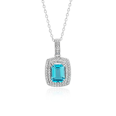 NUEVO. Swiss Blue Topaz and White Topaz Double Halo Pendant in plata de ley (8x6 mm)