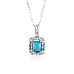 NEW Swiss Blue Topaz and White Topaz Double Halo Pendant in Argent sterling (8 x 6 mm)