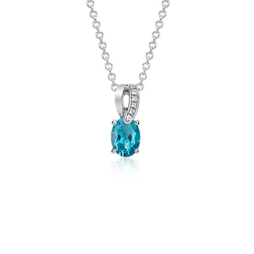 Swiss Blue Topaz and White Topaz Pendant in Sterling Silver (8x6 mm)
