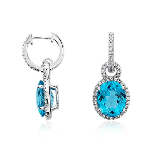 Swiss Blue Topaz and White Sapphire Halo Oval Drop Earrings in Sterling Silver