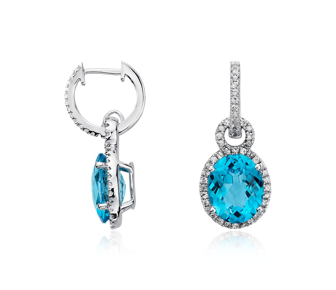 Swiss Blue Topaz and White Sapphire Halo Oval Drop Earrings in Sterling Silver (10x8mm)