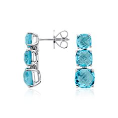 Swiss Blue Triple Drop Stud Earrings in Sterling Silver