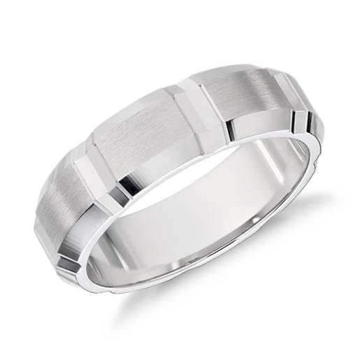Swiss-Cut Wedding Ring in 14k White Gold (6mm)