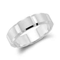 Swiss-Cut Wedding Ring in 14k White Gold (6mm)