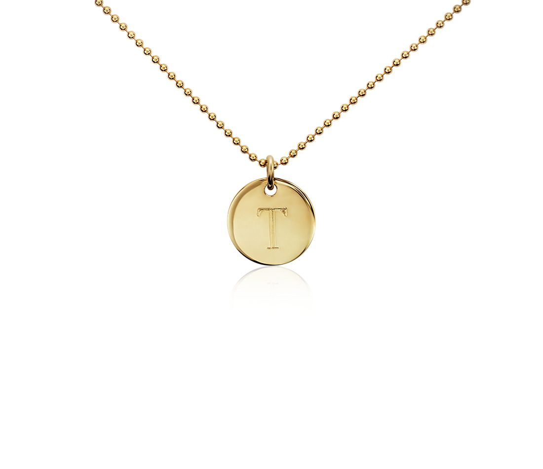 """T"" Mini Initial Pendant in Gold Vermeil"