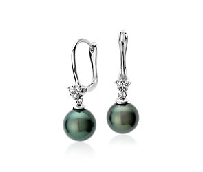 Tahitian Cultured Pearl and Diamond Cluster Earrings in 14k White Gold