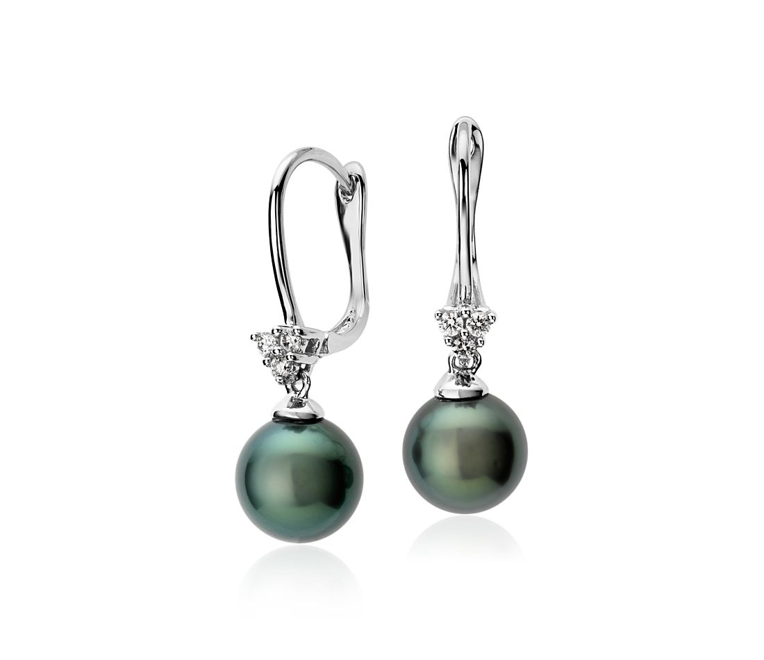 Tahitian Cultured Pearl and Cluster Diamond Earrings in 14k White Gold